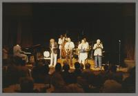 Jay McShann, Bob Wilber, Milt Hinton, Al Cohn, Snooky Young, Gus Johnson and unknown trombonist [photograph, front]