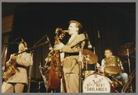 Red Holloway, unknown bassist, Scott Hamilton, Ed Shaughnessey [photograph, front]