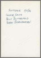 Carrie Smith, Bob Rosengarden and Billy Butterfield [photograph, back]