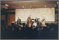 Ralph Sutton, unknown saxophonist, unknown bassist, Buddy Tate, Mel Lewis and Al Grey [photograph, front]