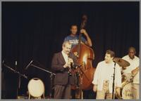 Kenny Davern and John Clayton with unknown musicians [photograph, front]