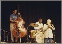 John Clayton, Ed Thigpen and unknown trombonist [photograph, front]