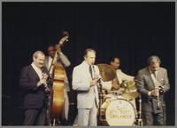 Kenny Davern, Major Holley, Buddy DeFranco and unknown musicians [photograph, front]