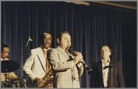 Gus Johnson, Buddy Tate, Peanuts Hucko and Ed Polcer [photograph, front]