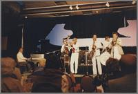 Paul Smith Joe Newman, Buddy Tate, Butch Miles and unknown bassist and trombonist [photograph, front]