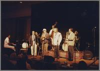 Lou Soloff, Phil Woods John Clayton, Spike Robinson, James Morrison and unknown pianist [photograph, front]