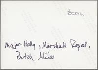 Major Holley, Marshall Royal and Butch Miles [photograph, back]