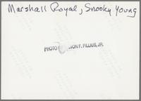 Marshall Royal and Snooky Young [photograph, back]