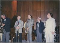 Spike Robinson, George Chisolm, Urbie Green, Bill Berry and Warren Vache [photograph, front]