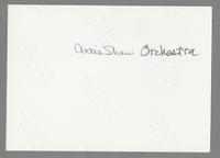 The Artie Shaw Orchestra and Dick Johnson [photograph, back]