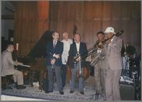Dick Hyman, Kenny Davern, Bob Haggart, George Masso, Plas Johnson and Al Grey [photograph, front]