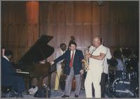 Jay McShann, Milt Hinton, Glen Zotolla and Red Holloway [photograph, front]