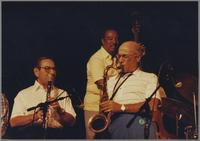 Peanuts Hucko, Ray Brown, Flip Phillips [photograph, front]