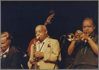 "Bob Wilber, Milt Hinton, Benny Carter and Harry ""Sweets"" Edison [photograph, front]"
