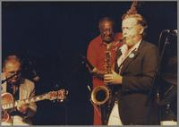 Bucky Pizzarelli, Milt Hinton and Bob Wilber [photograph, front]