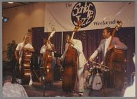Ray Brown, Milt Hinton, Major Holley and John Clayton [photograph, front]