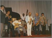 Glenn Zottola, Doc Cheatham, Howard Alden, Milt Hinton, Red Holloway, Harold Ashby and Dan Barrett [photograph, front]