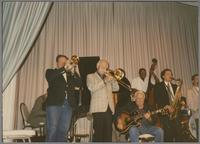 Warren Vache, George Chisolm, Herb Ellis, Major Holley, Ken Peplowski and Scott Hamilton [photograph, front]