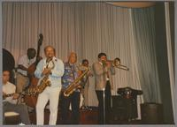 Howard Alden, Milt Hinton, Red Holloway, Harold Ashby, Dan Barrett and unknown clarinetist [photograph, front]