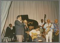 Jay McShann, Glenn Zottola, Doc Cheatham, Howard Alden, Milt Hinton Red Holloway and Harold Ashby [photograph, front]