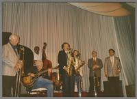 George Chisolm, Herb Ellis, Ken Peplowski, Scott Hamilton, Urbie Green and Dan Barrett [photograph, front]