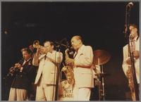 Dick Johnson, John Clayton, Warren Vache, Marshall Royal and Plas Johnson [photograph, front]