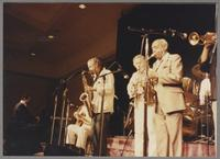 Jay McShann Spike Robinson Bob Wilbur and Benny Carter [photograph, front]