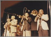 "Bob Wilber, Benny Carter, Harry ""Sweets"" Edison and Slide Hampton [photograph, front]"