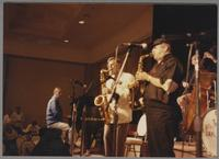 Ross Tompskins, Lew Tabackin, Phil Woods and Paul Warburton [photograph, front]