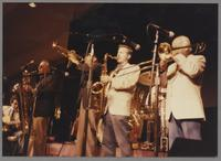 Howard Alden, Nick Brignola, Doc Cheatham Scott Hamilton and Slide Hampton [photograph, front]