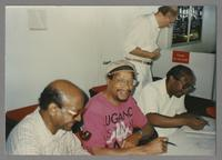Alan Dawson, Hank Jones and unknown man [photograph, front]