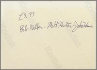 Bob Wilber, Milt Hinton and Jake Hanna [photograph, back]