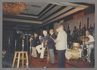 Peanuts Hucko, Yank Lawson, George Masso, Bob Haggart, Tommy Newsom and Butch Miles [photograph, front]