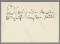 Peanuts Hucko, Yank Lawson, George Masso, Bob Haggart, Tommy Newsom and Butch Miles [photograph, back]