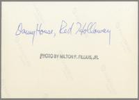 Danny House and Red Holloway [photograph, back]