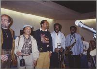 Roger Kellaway, Snooky Young, Charlie Owens, Thurman Green, and Ricky Woodard [photograph, front]