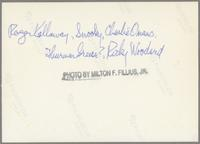 Roger Kellaway, Snooky Young, Charlie Owens, Thurman Green, and Ricky Woodard [photograph, back]