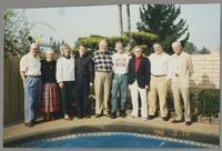Dean and Nancy Abelon, Kristine Fillius, Fillius, Tony, Milton Fillius, Jr., Butch Miles, Bob Wilber, Dan Barrett, and unknown man. [photograph, front]