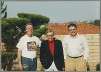 Butch Miles, Bob Wilber, and Dan Barrett [photograph, front]