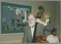 Unknown man playing the upright bass [photograph, front]