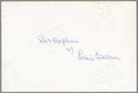 Bob Hopkins with Louie Bellson [photograph, back]