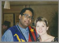 Jon Faddis and unknown woman [photograph, front]