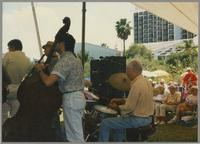 Unknown trumpeter, John LaPorta, Mark Neuenschwander, and Bobby Rosengarden [photograph, front]