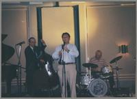 Jay Leonhart, Allan Vaché, and Jake Hanna performing [photograph, front]