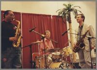 Jeff Clayton, Butch Miles, and Scott Hamilton [photograph, front]