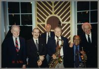 John Bunch, Kenny Davern, Bob Haggart, Tommy Newsom, Clark Terry, and Bobby Rosengarden [photograph, front]