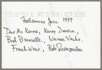 Dave McKenna, Bucky Pizzarelli, Kenny Davern, Warren Vaché, Frank Wess, and Bobby Rosengarden [photograph, back]