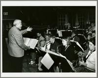 Frank Foster conducting the Hamilton College Jazz Ensemble [photograph, front]